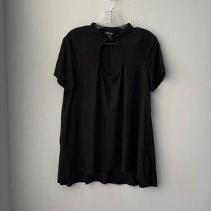 Rouge Short Sleeve Keyhole Mock Shirt